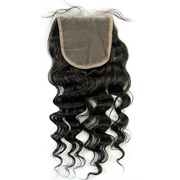 Ms Fenda Hair Natural Color Loose Wave Style Knots Bleached 100% Raw Remy Virgin Peruvian Human Hair 1Piece/lot Free Part 5x5 Lace Closure (16inch)