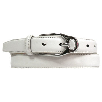Skinny Leather Belt With Silver Buckle