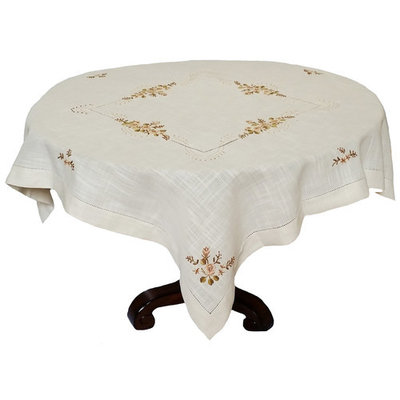 Xia Home Fashions Linen Flowers Crewel Embroidered with Hemstitch Cutwork Table Topper