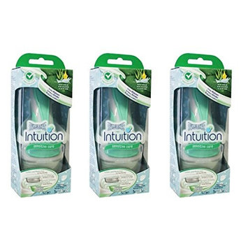 Wilkinson by Schick Intuition Sensitive Care Razor with 1 Refill Cartridge and Shower Hanger (3 Pack) + Makeup Blender