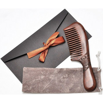 Wood Comb,Wooden hair comb,100% Natural Sucupira Comb-Anti Static (Wide Tooth-7.8 Inch)