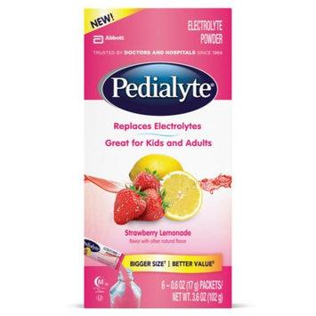 Abbott Nutrition Pedialyte Strawberry Lemonade Electrolyte Powder, 0.6 oz, 6 count, (Pack of 6)