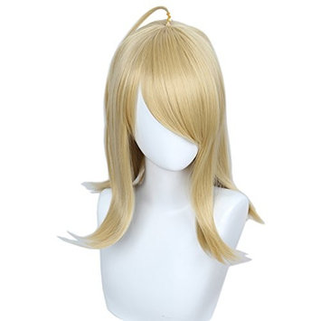 Linfairy Medium Long Blonde Cosplay Wig Halloween Costume Straight Wig for Women