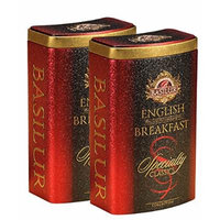 Basilur , Original English Breakfast , Ultra-Premium Loose Leaf Black Tea , Specialty Classics Collection , Free Tea Brewing Filters inside , 100g / 3.52oz. per Tin (Pack of 2)