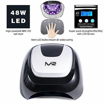 MelodySusie 48W LED Nail Lamp - Smart Gel Nail Dryer with LED Light Beads Curing All Brands LED Gel Nail Polish (Classic Black)