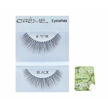 12 Pairs Creme 100% Human Hair Black Natural False Eyelashes Dozen Pack #747M