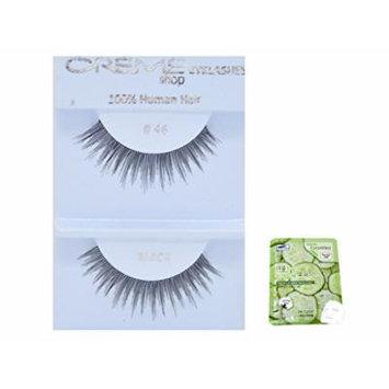 12 Pairs Creme 100% Human Hair Black Natural False Eyelashes Dozen Pack #46