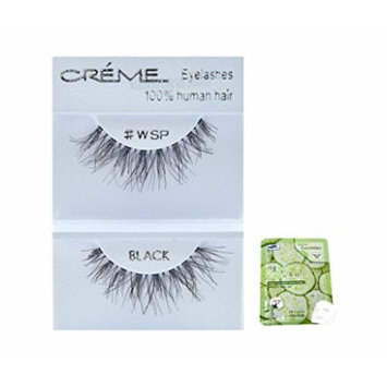 12 Pairs Creme 100% Human Hair Black Natural False Eyelashes Dozen Pack #WSP