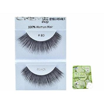 12 Pairs Creme 100% Human Hair Black Natural False Eyelashes Dozen Pack #80