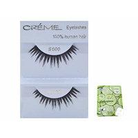 12 Pairs Creme 100% Human Hair Black Natural False Eyelashes Dozen Pack #600