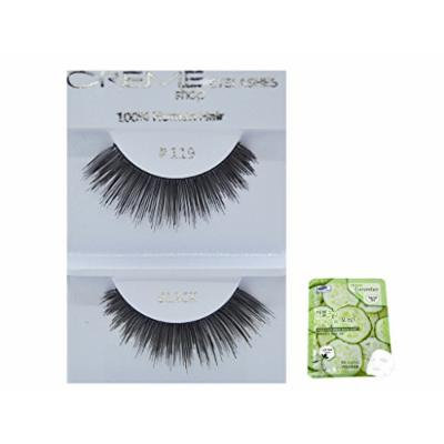 12 Pairs Creme 100% Human Hair Black Natural False Eyelashes Dozen Pack #119