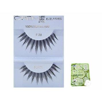 12 Pairs Creme 100% Human Hair Black Natural False Eyelashes Dozen Pack #38