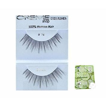 12 Pairs Creme 100% Human Hair Black Natural False Eyelashes Dozen Pack #74