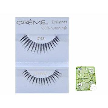 12 Pairs Creme 100% Human Hair Black Natural False Eyelashes Dozen Pack #68