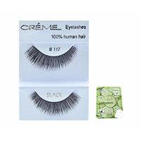 12 Pairs Creme 100% Human Hair Black Natural False Eyelashes Dozen Pack #117