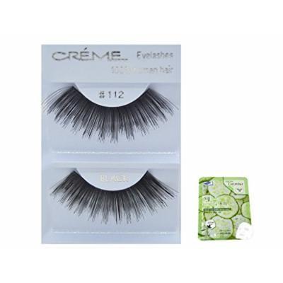 12 Pairs Creme 100% Human Hair Black Natural False Eyelashes Dozen Pack #112