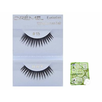 12 Pairs Creme 100% Human Hair Black Natural False Eyelashes Dozen Pack #15