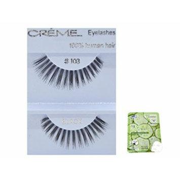 12 Pairs Creme 100% Human Hair Black Natural False Eyelashes Dozen Pack #103