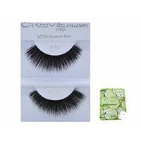 12 Pairs Creme 100% Human Hair Black Natural False Eyelashes Dozen Pack #79