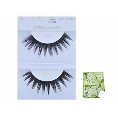 12 Pairs Creme 100% Human Hair Black Natural False Eyelashes Dozen Pack #62