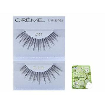 12 Pairs Creme 100% Human Hair Black Natural False Eyelashes Dozen Pack #41