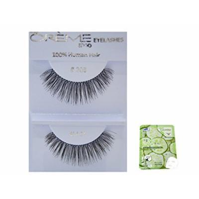 12 Pairs Creme 100% Human Hair Black Natural False Eyelashes Dozen Pack #205