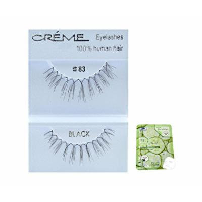 12 Pairs Creme 100% Human Hair Black Natural False Eyelashes Dozen Pack #83
