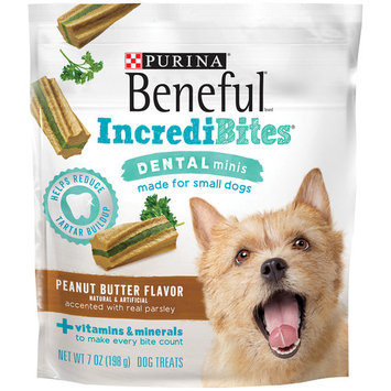Purina Beneful IncrediBites Dental Minis Peanut Butter Flavor Dog Treats - (5) 7 oz. Pouches