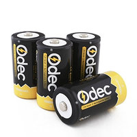 Odec D Cell Rechargeable Battery, 4-Pack 10000mAh Deep Cycle NiMH Battery Pack