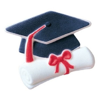 Lucks Dec-Ons Decorations Molded Sugar/Cup-Cake Topper, Cap and Scroll, 4.25 Inch, 18 Count