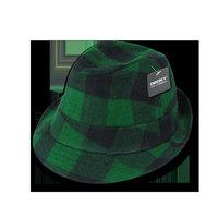 Decky Acrylic Plaid Lightweight Fedoras Trilby Panama Hats Hat For Men Women Green Plaid