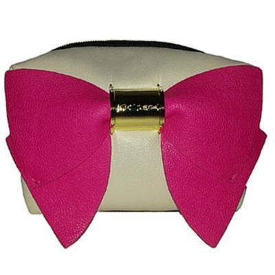Betsey Johnson Bow Nanza Leather Cosmetic Bag - Cream / Fushia