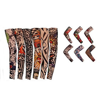 Flyusa 12 Pcs Fake Temporary Tattoo Sleeves Body Art Arm Sunscreen Sleeves Stockings with Different Designs Skull, Dragon,Tribal ,Crown,Fish and Etc