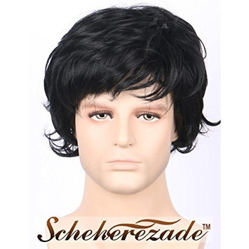 Scheherezade Cool Short Wavy Black Wig for Men Cheap Synthetic Wigs with Bangs Black Natural Looking Full Machine Made Handsome Replacement Hair Wigs for Cosplay (LDSMEN05)