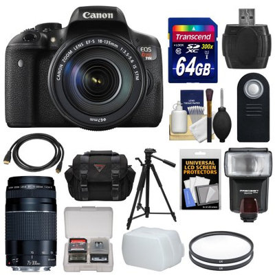 Canon EOS Rebel T6i Wi-Fi Digital SLR Camera & EF-S 18-135mm IS STM Lens with 75-300mm III Lens + 64GB Card + Case + Filters + Tripod + Flash + HDMI Cable + Kit + CANON USA Warranty