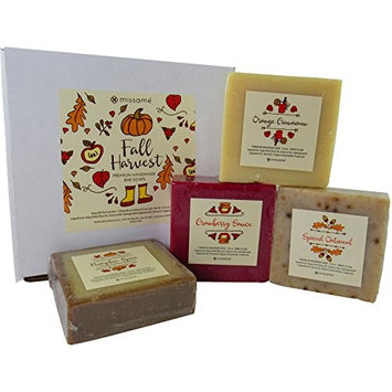 Pumpkin Spice, Cranberry, Oatmeal And Orange Cinnamon Scented Handmade Bar Soap Gift Set, 4 Full Sized Bars 5.0 oz Each, Saponified Olive Oil Base With Organic Shea Butter