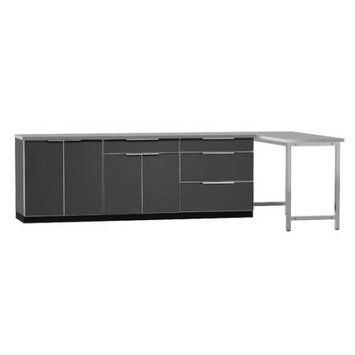 Newage Products Aluminum Slate 5-Piece 160x36x24 in. Outdoor Kitchen Cabinet Set with Covers