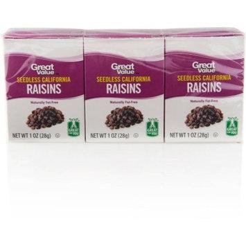 Great Value All Natural California Raisins, 1 oz, 6 pk