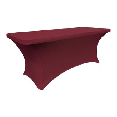 LA Linen TCSpandex72x24x30-BurgundyX17 Rectangular Spandex Tablecloth Burgundy - 72 x 24 x 30 in.