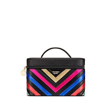 Victoria's Secret V-Quilt Rainbow Runway Vanity Case, Black/ Rainbow, 9 x 6 x 6