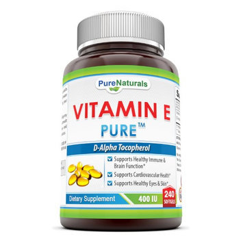Pure Naturals Vitamin E 400 IU with Tocopherols, 240 Softgels
