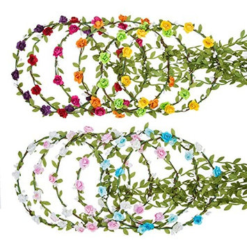 eBoot 12 Pieces Flower Crown Wreath Floral Garland Headbands for Wedding Beach Festival (Multicolor)