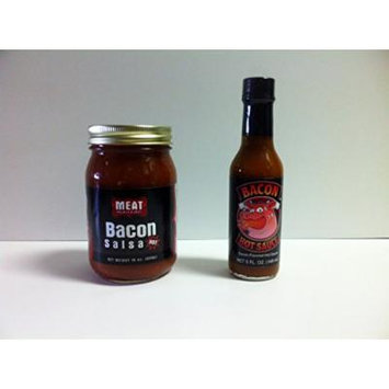 MEAT MANIAC Bacon Sauce Lovers Combo Gift Pack- Meat Maniac Bacon Salsa (16oz) & Bacon Hot Sauce (5oz)