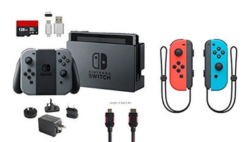 Ushopmall & Nintendo Nintendo Switch Bundle (6 items): 32GB Console Gray Joy-con, 128GB Micro SD, Joy-Con (L/R)-Neon Red/Neon Blue, Type C Cable, Wall Charger