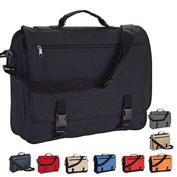 eBuyGB® Messenger Bag for School, College & Work - Shoulder Meeting Bag (Black and Beige)
