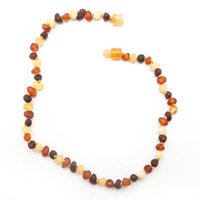 Healing Hazel Baltic Amber 11-Inch Baby Necklace in Raw Brown Multi