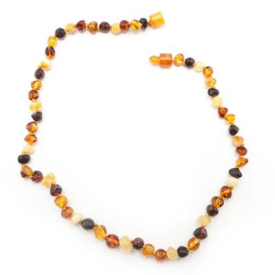 Healing Hazel Baltic Amber 12-Inch Children's Necklace in Polished Brown Multi