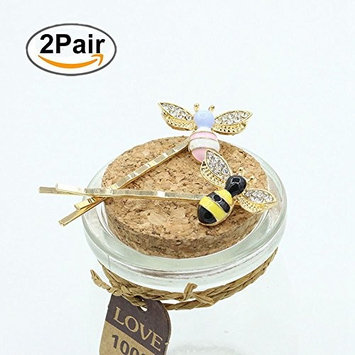 4Pcs Girl Kid Honeybee Metal Hairpin Cute Rhinestone Bee Barrette Bobby Pin, Hair Clip Accessories (Pink and Black) (03)