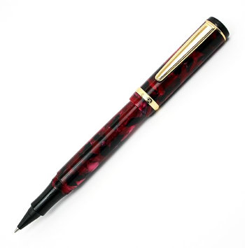 Rosetta Magellan Ink Cartridge Rollerball Pen, Burgundy Marble, Gold Trim