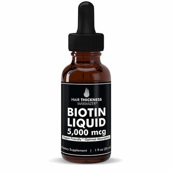 All Natural Liquid Unflavored Vegan BIOTIN Drops (5000 MCG) by Hair Thickness Maximizer. 30 to 60 Servings for Stronger, Thicker Hair. Made in USA. Combat Hair Loss + Thinning Hair. HIGH Absorption